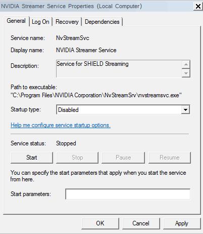 Nvidia Tweak - disable stream service
